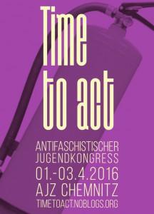Banner für den antifaschistischen Jugendkongress in Chemnitz